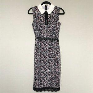 New York & Company Floral Peter Pan Collar Dress